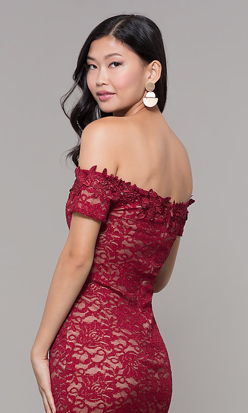 Image of lace off-the-shoulder wine red short holiday dress. Style: MY-5358ZJ1C Detail Image 2