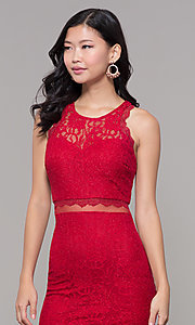 Image of red short glitter-lace holiday dress for parties. Style: MY-5400DO1C Detail Image 1