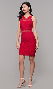 Image of red short glitter-lace holiday dress for parties. Style: MY-5400DO1C Detail Image 3