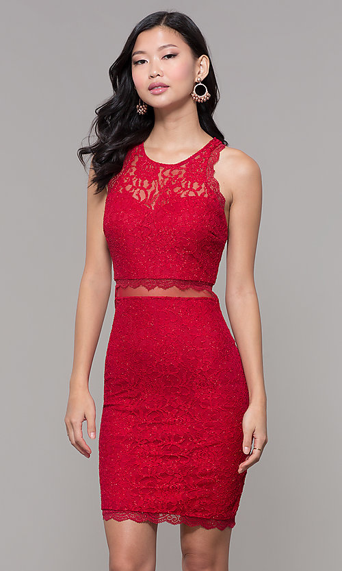 Red Short Glitter Lace Holiday Party Dress