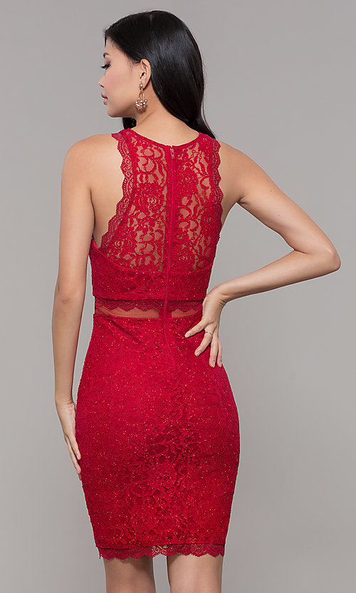 Image of red short glitter-lace holiday dress for parties. Style: MY-5400DO1C Back Image