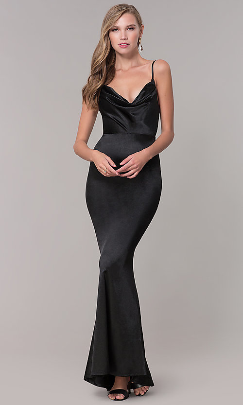 Image of open-back long formal prom dress with cowl neckline. Style: LUX-LD5134 Front Image