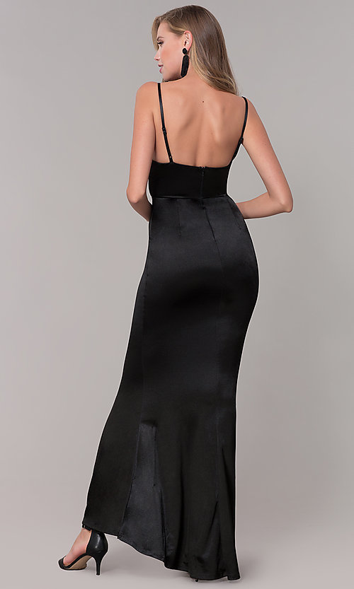 Image of open-back long formal prom dress with cowl neckline. Style: LUX-LD5134 Back Image