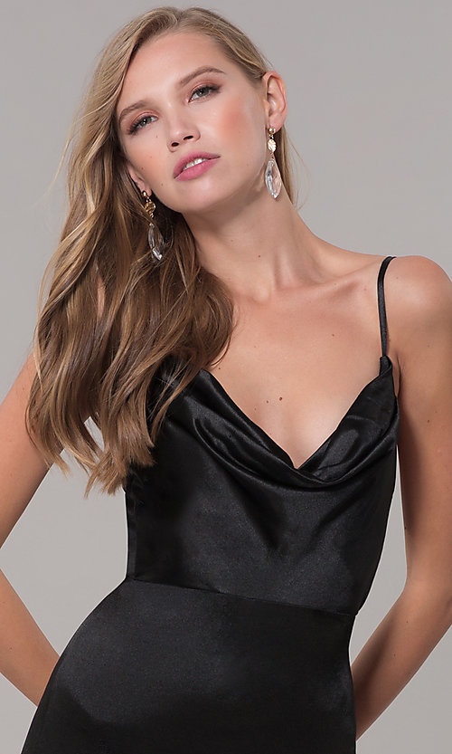 Image of open-back long formal prom dress with cowl neckline. Style: LUX-LD5134 Detail Image 1