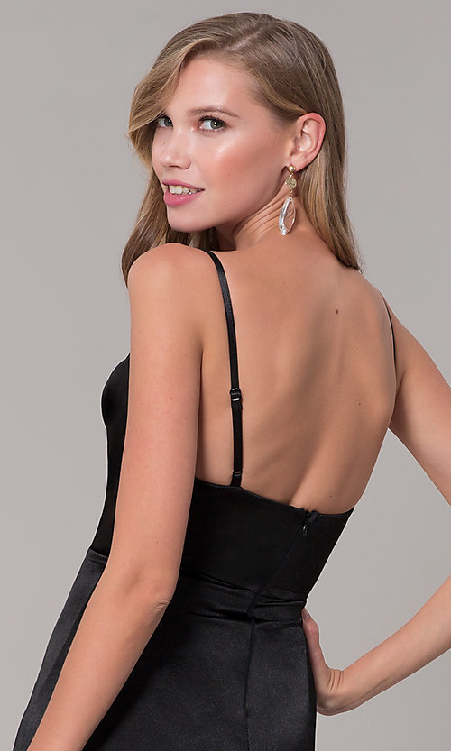 Image of open-back long formal prom dress with cowl neckline. Style: LUX-LD5134 Detail Image 2