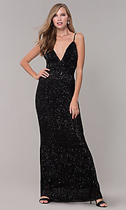 Image of sequin-mesh long formal prom dress with open back. Style: LUX-LD5029 Detail Image 2