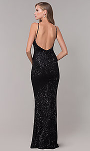 Image of sequin-mesh long formal prom dress with open back. Style: LUX-LD5029 Detail Image 3