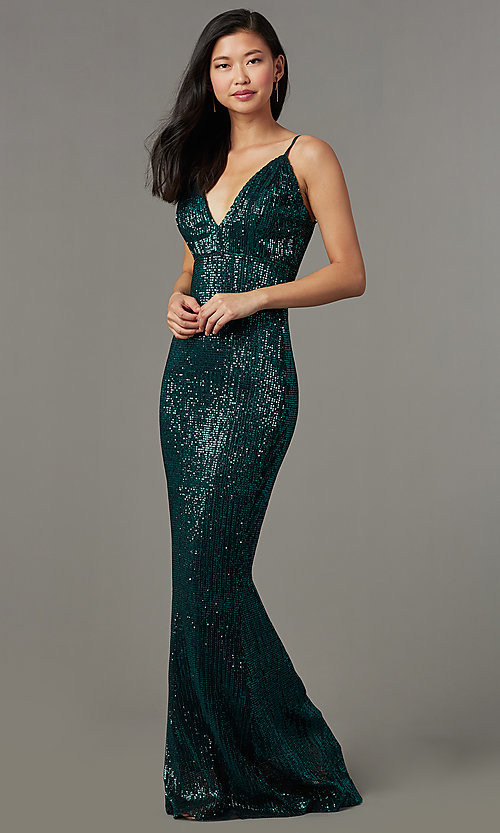 Image of sequin-mesh long formal prom dress with open back. Style: LUX-LD5029 Front Image