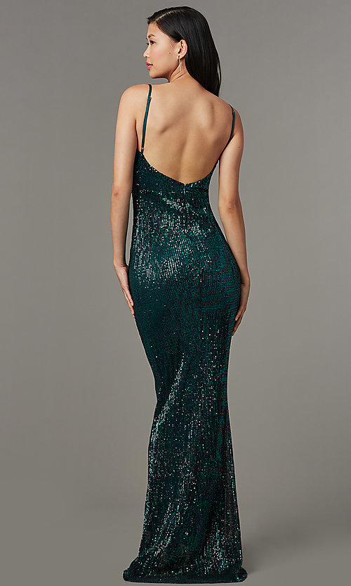 Image of sequin-mesh long formal prom dress with open back. Style: LUX-LD5029 Back Image