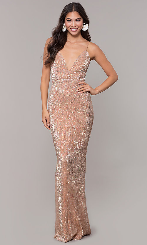 Image of sequin-mesh long formal prom dress with open back. Style: LUX-LD5029 Detail Image 6