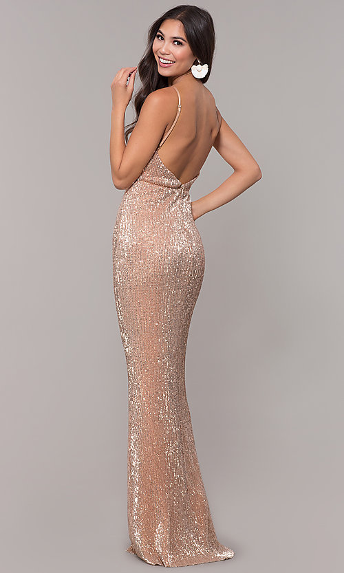 Image of sequin-mesh long formal prom dress with open back. Style: LUX-LD5029 Detail Image 7