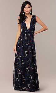 Image of deep-v-neck floral-print long chiffon prom dress. Style: LUX-LD5126 Front Image