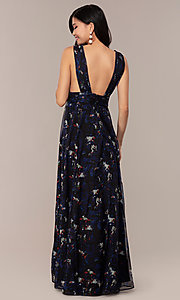 Image of deep-v-neck floral-print long chiffon prom dress. Style: LUX-LD5126 Back Image