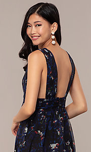 Image of deep-v-neck floral-print long chiffon prom dress. Style: LUX-LD5126 Detail Image 2
