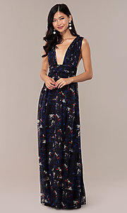 Image of deep-v-neck floral-print long chiffon prom dress. Style: LUX-LD5126 Detail Image 3
