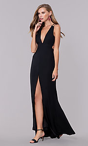 Image of deep-v-neck open-back long black prom dress. Style: LUX-LD4763 Front Image