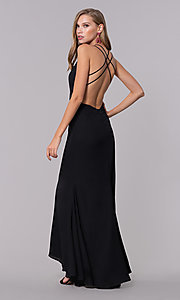 Image of deep-v-neck open-back long black prom dress. Style: LUX-LD4763 Back Image