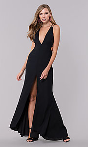 Image of deep-v-neck open-back long black prom dress. Style: LUX-LD4763 Detail Image 3