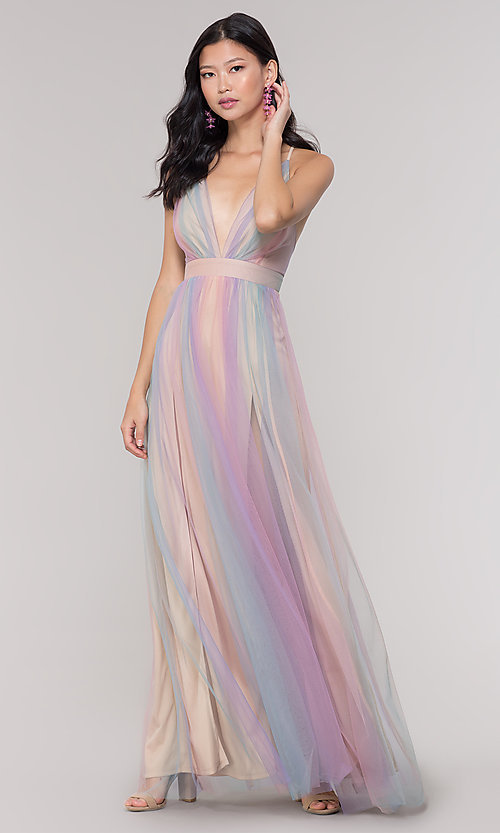 Image of open-back long pastel v-neck prom dress. Style: LUX-LD4982 Front Image
