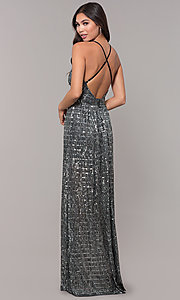 Image of open-back metallic long prom dress with deep v-neck. Style: LUX-LD5114 Back Image