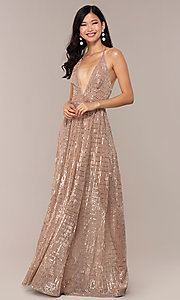 Image of open-back metallic long prom dress with deep v-neck. Style: LUX-LD5114 Front Image