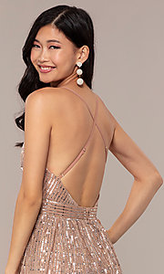 Image of open-back metallic long prom dress with deep v-neck. Style: LUX-LD5114 Detail Image 2