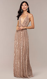 Image of open-back metallic long prom dress with deep v-neck. Style: LUX-LD5114 Detail Image 3