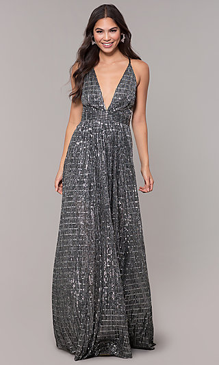 Open-Back Metallic Long Prom Dress with Deep V-Neck