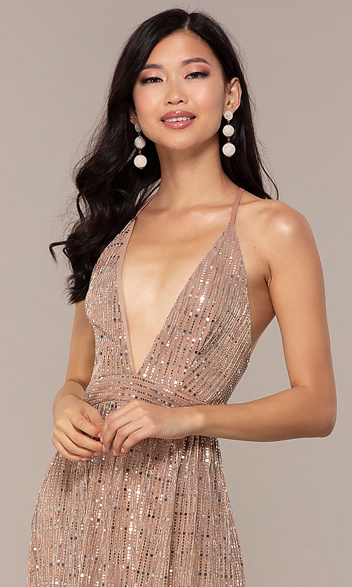 Image of open-back metallic long prom dress with deep v-neck. Style: LUX-LD5114 Detail Image 1