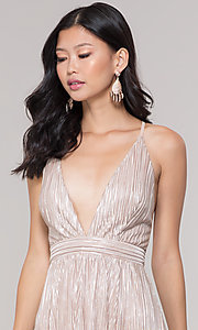 Image of long v-neck metallic formal prom dress. Style: LUX-LD5179 Detail Image 1