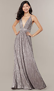 Image of long v-neck metallic formal prom dress. Style: LUX-LD5179 Detail Image 4