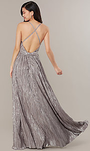 Image of long v-neck metallic formal prom dress. Style: LUX-LD5179 Detail Image 5