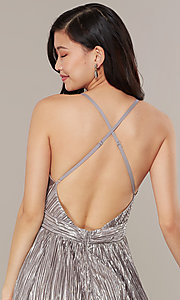 Image of long v-neck metallic formal prom dress. Style: LUX-LD5179 Detail Image 7