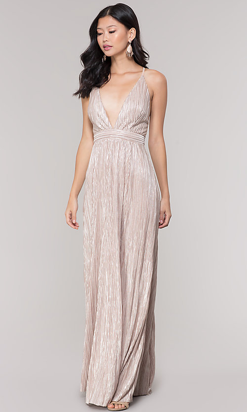 Image of long v-neck metallic formal prom dress. Style: LUX-LD5179 Detail Image 3