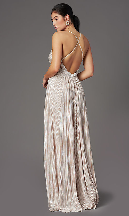 Image of long v-neck metallic formal prom dress. Style: LUX-LD5179 Back Image
