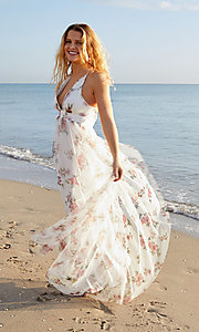 Image of white floral-print v-neck prom dress. Style: LUX-LD4991 Front Image