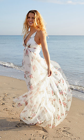 White Floral-Print Long V-Neck Prom Dress