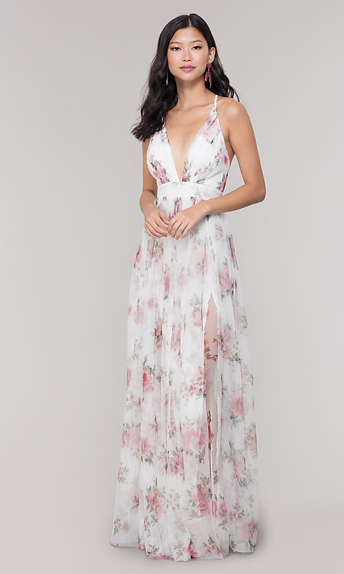 Image of white floral-print v-neck prom dress. Style: LUX-LD4991 Detail Image 3