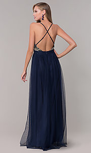 Image of long navy prom dress with embroidered bodice. Style: LUX-LD5152 Back Image