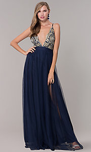 Image of long navy prom dress with embroidered bodice. Style: LUX-LD5152 Front Image