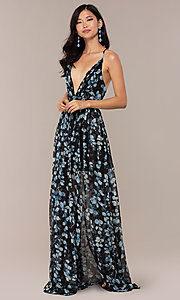 Image of chiffon long black prom dress with floral print. Style: LUX-LD4983 Front Image