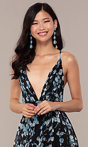 Image of chiffon long black prom dress with floral print. Style: LUX-LD4983 Detail Image 1