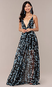 Image of chiffon long black prom dress with floral print. Style: LUX-LD4983 Detail Image 3