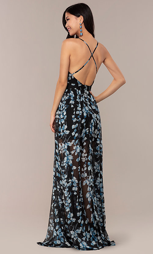 Image of chiffon long black prom dress with floral print. Style: LUX-LD4983 Back Image