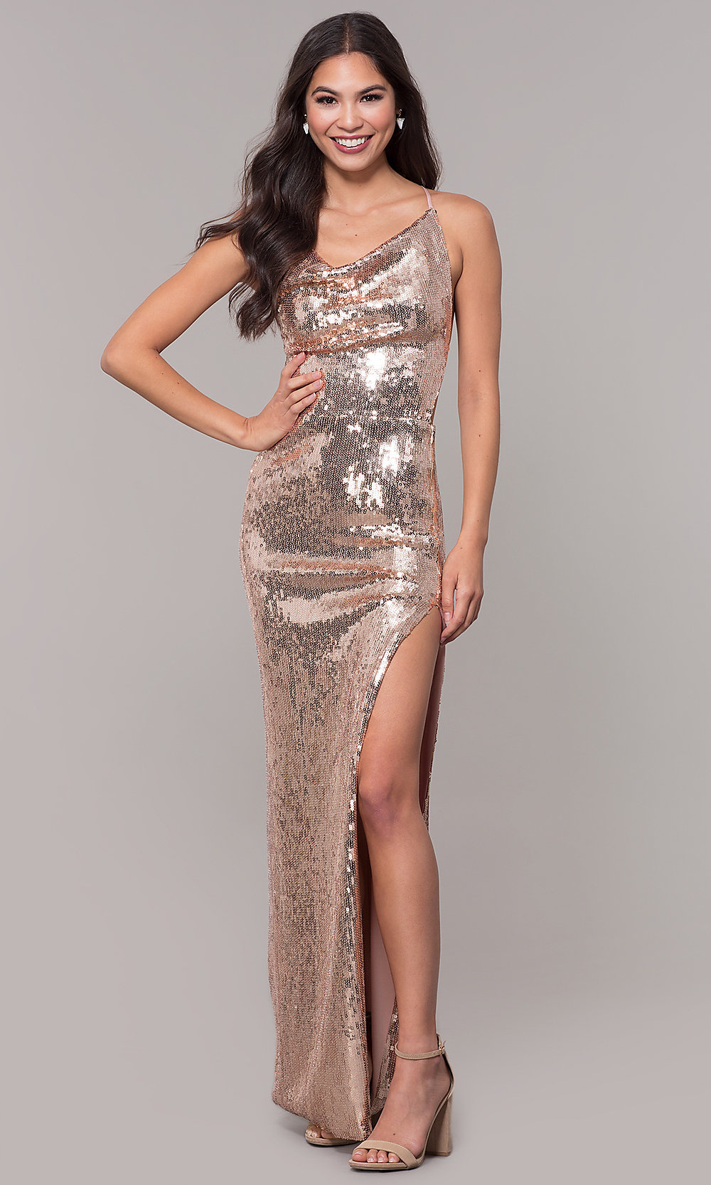 9e3965de97b4 Image of cowl-neck long rose gold sequin-mesh prom dress. Style: Tap to  expand