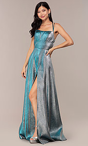 Image of glitter-crepe JVNX by Jovani long metallic prom dress. Style: JO-JVNX68246 Back Image