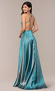 Image of glitter-crepe JVNX by Jovani long metallic prom dress. Style: JO-JVNX68246 Front Image