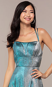 Image of glitter-crepe JVNX by Jovani long metallic prom dress. Style: JO-JVNX68246 Detail Image 1
