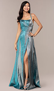 Image of glitter-crepe JVNX by Jovani long metallic prom dress. Style: JO-JVNX68246 Detail Image 2