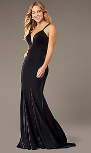 Image of JVNX by Jovani long mermaid v-neck formal dress. Style: JO-JVNX66954 Front Image